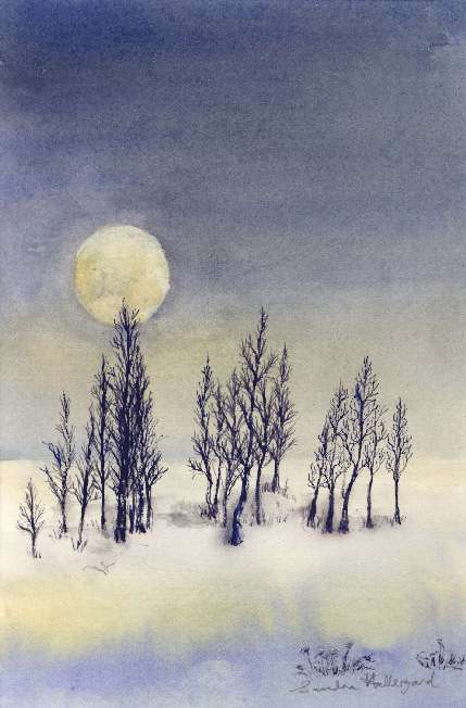 2004 Winter Moon Watercolour + ink