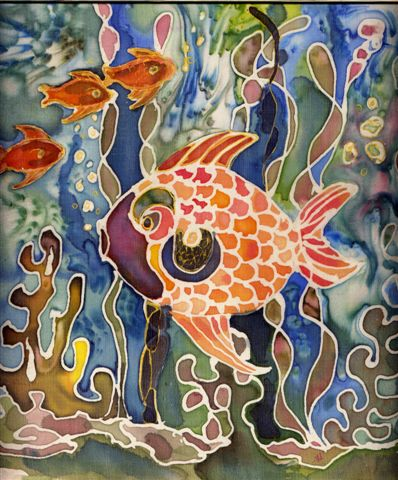 2005 Linnea's Fish Silk Painting