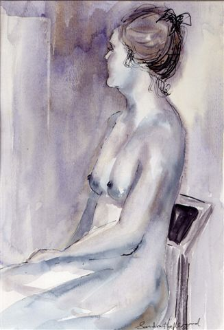 2005 Sitting Nude Wash and ink