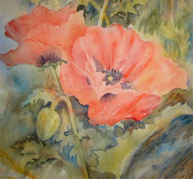 2007 Red Poppies Watercolour