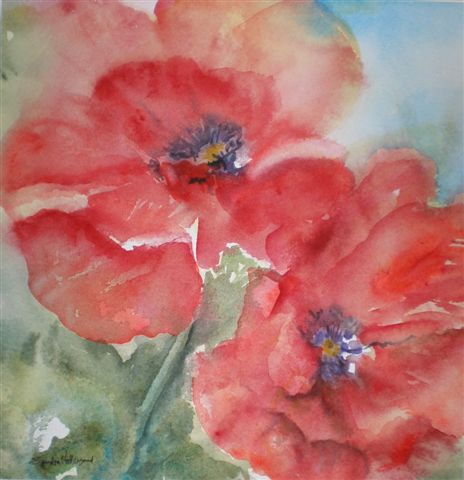 2008 Two Red Poppies Watercolour