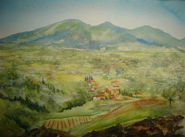 2008 View from Villa Carli, Tuscany Watercolour
