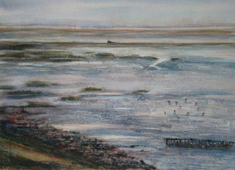 2011 Estuary in winter Watercolour