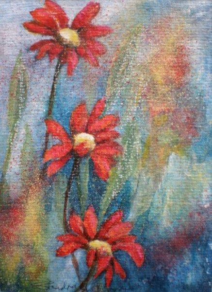 2011 Three orange daisies Acrylic