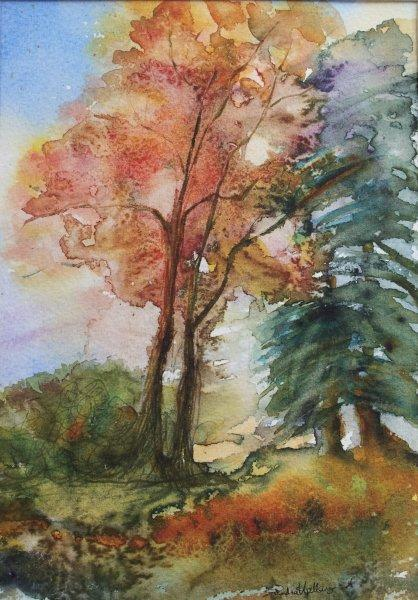 2012 Autumn Trees Watercolor