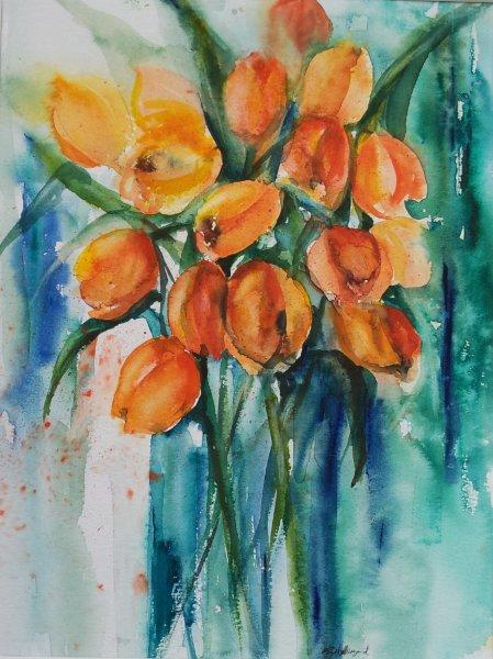2012 Orange Tulips Watercolour